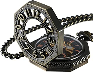 Carrie Hughes Steampunk Vintage Gold Tone Octagon Skeleton Mechanical Pocket Watch with Chain Christmas Gifts CHPW02