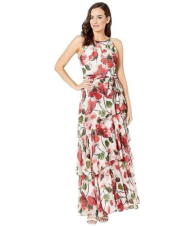 Tahari by ASL Printed Chiffon Tiered Ruffle Maxi Dress (Mini Amore Floral) Women