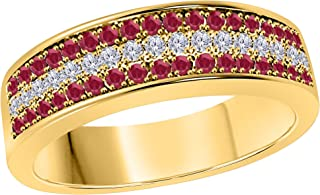 6mm 14K Yellow Gold Over 1/2 Ct Red Ruby & White Simulated Diamond Half Eternity Men's Anniversary Wedding Band Ring