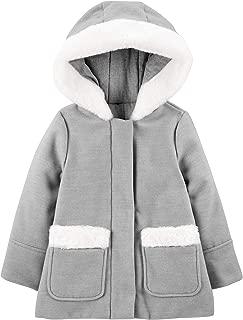 Toddler Girls' Hooded Felt Jacket with Faux Fur Trim