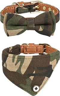 Gyapet Small Dog Collar Bandana Bowtie for Cats Puppies Kitten 2 Packs Adjustable Scarf Cute Camo camo-Green