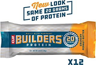 CLIF BUILDERS - Protein Bars - Crunchy Peanut Butter - (2.4 Ounce Non-GMO Bars, 12 Count)