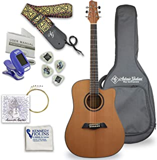 Antonio Giuliani Acoustic Mahogany Guitar Bundle (DN-2) - Dreadnought Guitar with Case, Strap, Tuner, Strings and Accessories By Kennedy Violins