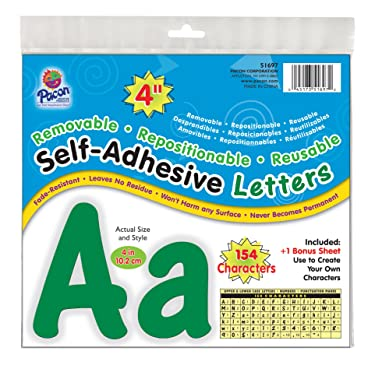 """Pacon 4"""" Self-Adhesive Uppercase and Lowercase Letters, 154-Count, Green (51697)"""