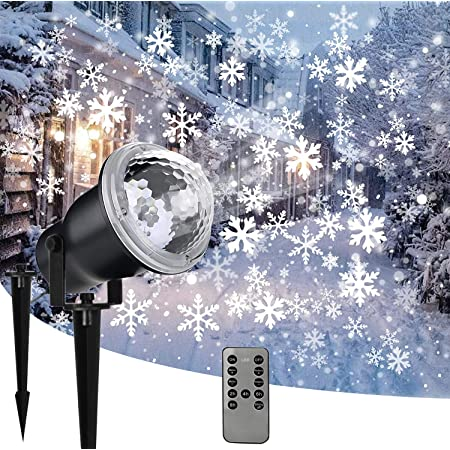 Rotating Snowflake Projection Lights with Remote Control Snowstorm Effect for Christmas,Holiday,Halloween,Party,Garden,Wedding,Indoor Outdoor Decorations Renewed Snowfall LED Light Projector