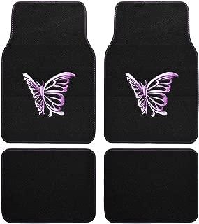 BDK Purple Butterfly Design Carpet Floor Mats for Car SUV - 4 Piece Set, Licensed Prodcuts, Auto Accessory