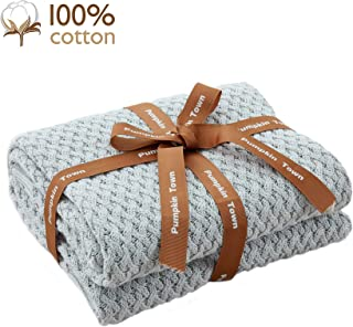 Pumpkin Town Gray 100% Cotton Cable Knit Winter Christmas Throw Blanket for Soft Sofa, Chair, Couch, Picnic, Camping, Beach, Home Decorative Knitted Blanket, 50