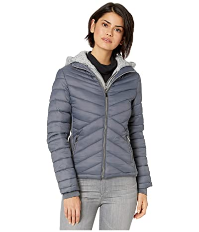 YMI Snobbish Puffer Jacket with Marled Sweatshirt Hood (Charcoal) Women