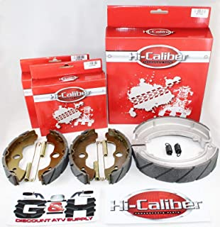 QUALITY WATER GROOVED Front and Rear Brake Shoes &...