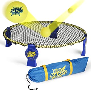 A11N 2019 Winter Bing Bang Ball Game Set; Includes Round Net-Upgraded EVO-Honeycomb PE Net and Steady Metal Frame, 3 Balls, Bag and Rules; Volleyball Spike Game for Beach, Lawn, Camping, Tailgate