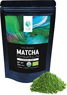 SEEIN Organic Matcha (Ceremonial) - USDA Organic & EU Certified - Authentic Premium Green Tea Powder, 30g(1.06oz), 15 Serving, Smooth Flavor, Vegan-friendly, Rich Antioxidants, Natural Energy