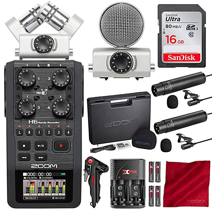 Zoom H6 Six-Track Handy Portable Recorder with 16GB Card and Dual Lavalier Microphone Accessory Bundle