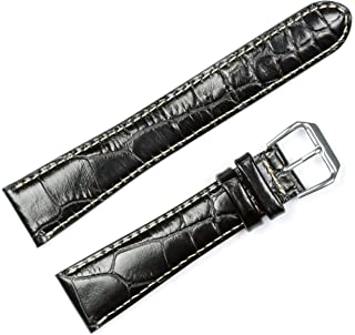 deBeer Crocodile Grain Watch Band w/White Stitching - Sizes 12mm, 14mm, 16mm, 18mm, 19mm, 20mm - 3 Colors