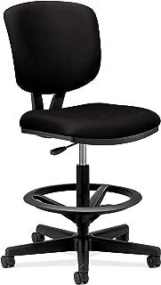 HON H5705.GA10.T Volt Task Stool - Upholstered Office Stool, Black Fabric (H5705)