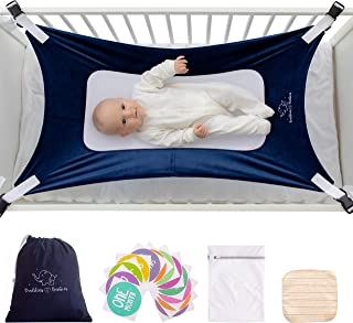 Buddies & Babies Baby Crib Hammock - Hanging Bed on Bassinet for Newborns - Mimics Womb - Best Portable Fabric Sleeping Cradle with Mesh Support and Adjustable Straps - Great Baby Shower Gift Blue