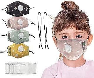 Children's Seamless Face Bandanas, with 8 Filter Sheet, 2 Ear Extender Straps (Star)