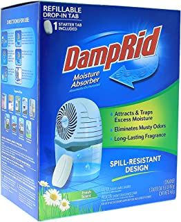 DampRid Drop-In Moisture Absorbing Tab Starter Kit; 15.8 Oz. Fresh Scent Drop-In Tab Attracts Excess Moisture to Create Fresher, Cleaner Air and Remove Musty Odors (FG96)