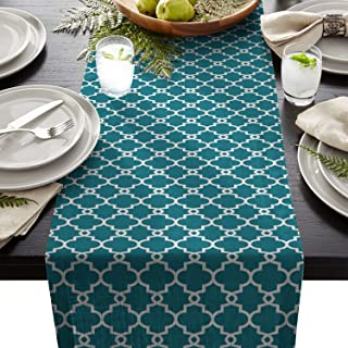 Olivefox Linen Burlap Table Runner, 13x90 Inch Farmhouse Table Runners for Summer Parties, Dining Room, Home Kitchen, Wedding Decorations - Machine Washable, Teal Geometric Patterned