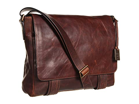 Frye Logan Messenger Pull Antique Up Brown Dark nrnBxg7