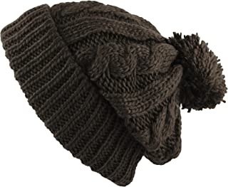 4517d0036ed THE HAT DEPOT Winter Oversized Cable Knitted Pom Pom Beanie Hat Fleece  Lining Hat