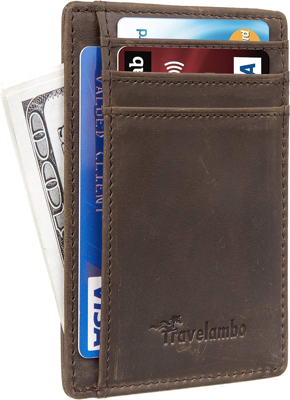 Travelambo Front Pocket Minimalist Leather Slim Wallet RFID Blocking Medium Size(CH Khaki P)