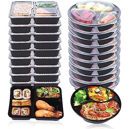 OITUGG 3 Compartiment Repas Préparation Contenants avec Couvercles, Empilable,Lave-Vaisselle et Four Micro-Ondes,Réutilisable Boîtes à Lunch,Rondes et Carrées Deux Tailles Différentes,20 Morceaux by