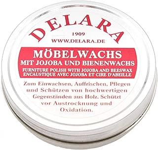 DELARA Sehr hochwertiges Möbelwachs mit Jojoba und Bienenwachs, schützt vor Austrocknung und Oxidation, Farbe: Braun - Made in Germany