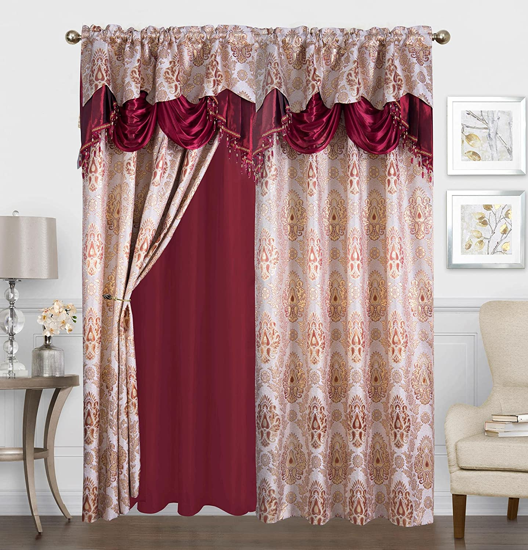 Ranking Max 63% OFF TOP13 Sapphire Home Shiny Jacquard Curtain Drape 2 95-Inc Set Panels