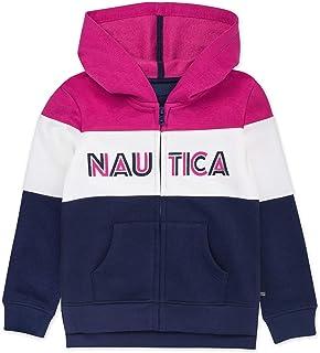 Nautica Big Girls' Long Sleeve Hoody, Navy Color Block, S7