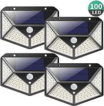 Luz Solar Exterior 100 LED, [2200mAh Ahorro de Energía Super] iPosible 270 °Iluminación de Cuatro Lados Foco Solar con Sensor de Movimiento Impermeable Lámpara Solar 3 Modos para Jardín 4-Paquete