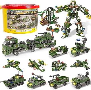 Building Blocks of Army Marine Corps War Air Force Vehicles,1298 Pcs 19 Models, Exercise N Play Kids Consturction Bricks T...
