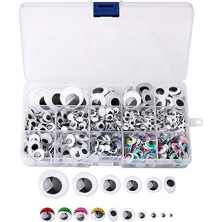 Yeux Mobile Autocollant, 1200 Pcs Wiggle Eyes en Plastique Lisse Accessoire Bricolage Decoration pour Projet DIY Craft Scrapbooking Jouet Tissu Feutre