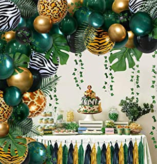 Jungle Safari Tropical Theme Sage Green Balloons Baby Shower Party Supplies Decorations Decor, Wild One 1st First Theme Bi...