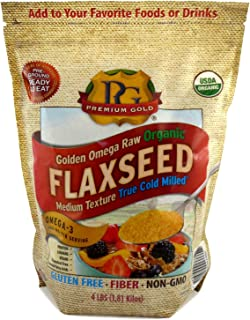 Premium Gold Organic Ground Flax Seed | High Fiber Food | Omega 3 | 4 pounds