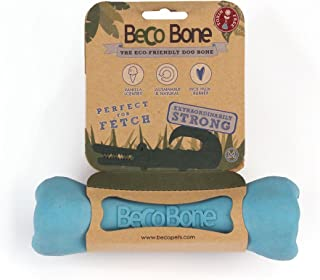 Beco Bone - Natural Rubber Hollow Chew Toy for Dogs - M - Blue