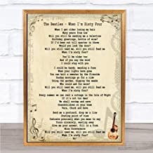 When I'm Sixty Four Song Lyric Quote Print