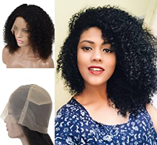 Curly Full Lace Wigs Human Hair Pre Plucked with Baby Hair Natural Hairline for Black Women, Brazilian Virgin Hair Wigs Natural Color 12inch (#1B) by Veer