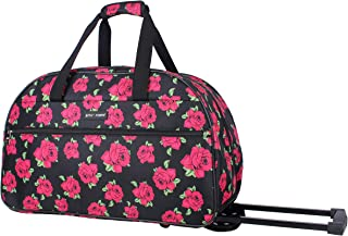 Designer Carry On Luggage Collection - Lightweight Pattern 22 Inch Duffel Bag- Weekender Overnight Business Travel Suitcase with 2- Rolling Spinner Wheels (Covered Roses)