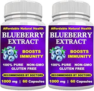 Wild Blueberry Extract Supplement - Made from Organic Berries - Powerful ANTIOXIDANT - BOOSTS Immune System - 1000 mg - 12...