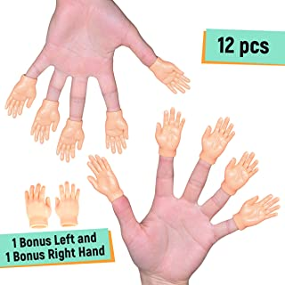 NextClimb Tiny Hand Finger Puppets (Pack of 12 – 6 Right & 6 Left) – Little Finger Props for Hands – Halloween Hand Prop Accessories – Mini Prank Hand & Gag Gifts for Adults