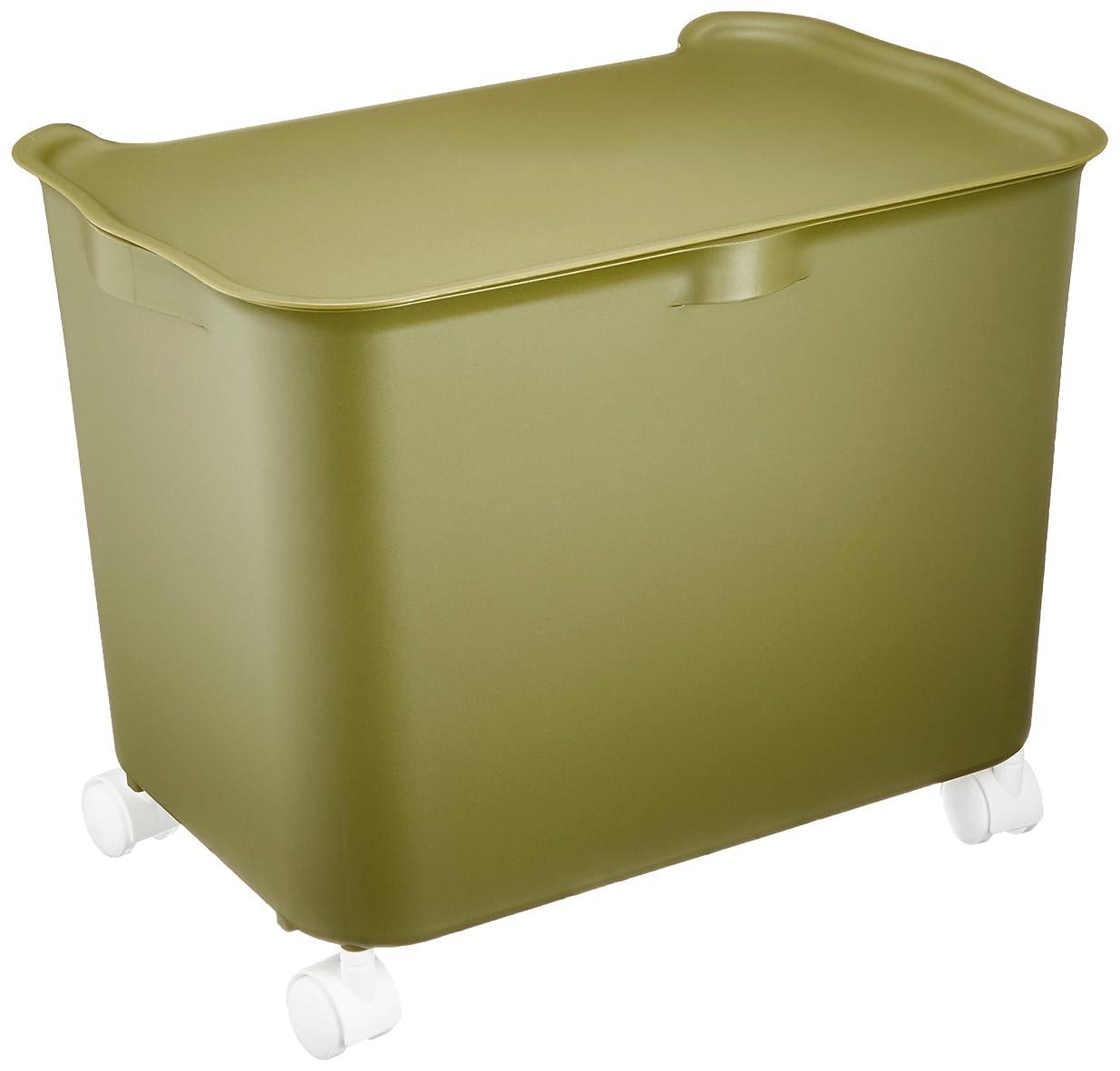 温室習慣ヒゲクジラサンカ 日本製 katasu(カタス) 収納ボックス(3個組) ふた付き キャスター付き ハコL3個/フタML3個/キャスター グリーン KhLGR×3+KfMLGR×3+ACS