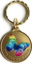 Color Rainbow Butterfly One Day at A Time Keychain Serenity Prayer in Bronze