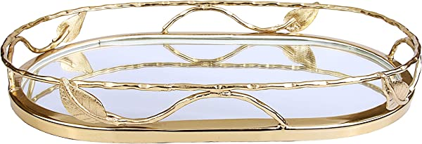 Beautiful Oval Shaped Mirror Tray With Gold Leaf Design Elegant Oval Vanity Tray With Side Bars Makes A Great Bling Gift
