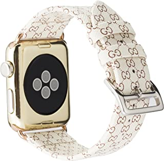 Band 38mm for Apple Watch Fashion Leather iWatch Sport Series 4 Series 3 Series 2 1 Strap for Women Men Color Rose Gold Metal Buckle (Beige 38mm)