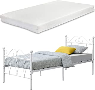 en.casa Łóżko metalowe Apolda 90 x 200 cm, łóżko młod