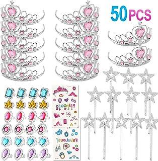 Tacobear 50 Stück Prinzessin Schmuck Mädchen mit Prinzessin Krone Ring Aufkleber Zauberstab Prinzessin Kostüm Mädchen Party Zubehör Spielzeug Schmuck Set für Kindergeburtstag Mitbringsel (Rosa)