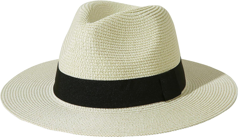 1940s Mens Hats | Fedora, Homburg, Pork Pie Hats Lanzom Men Women Wide Brim Straw Foldable Roll up Hat Fedora Summer Beach Sun Hat UPF50+  AT vintagedancer.com