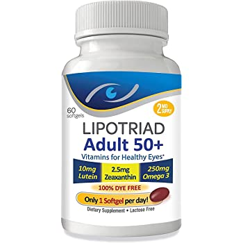 Lipotriad Adult 50+ Eye Vitamin and Mineral Supplement - ONE Per Day Eye Vitamin w/10mg Lutein, Zeaxanthin, Omega 3, Vitamin C, E, Zinc Copper - 2mo Supply, 60 Softgels
