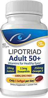 Lipotriad Adult 50+ Eye Vitamin and Mineral Supplement - ONE Per Day Eye Vitamin w/10mg Lutein, Zeaxanthin,...