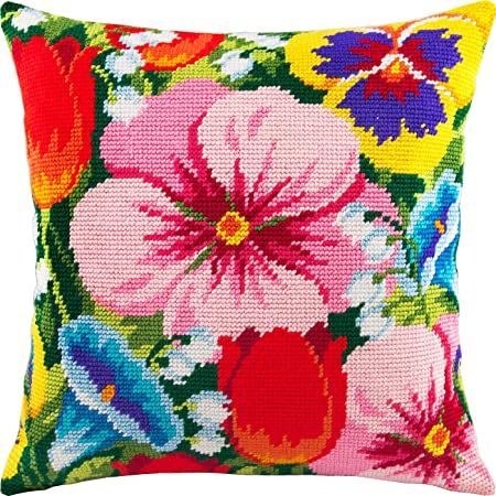 European Quality Throw Pillow 16/×16 Inches Printed Tapestry Canvas Floral Patterns Needlepoint Kit